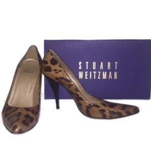 Stuart Weitzman Leopard Print Patent Leather Pumps